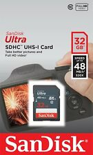SanDisk 32GB Ultra Class 10 SD 48MB/s Full HD Video SDHC scheda di memoria new