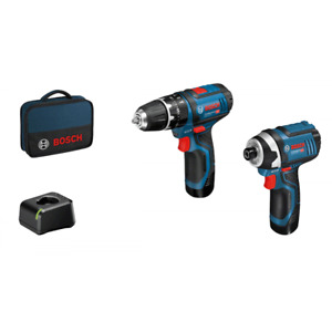 Bosch GDR12-105 + GSB12V 12v Cordless Twin Pack 2 x 2.0 Batteries Charger + Bag