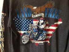 New BIG DOGS BORN TO RIDE LAND OF THE FREE Motorcycle USA Flag Eagle L/S Shirt