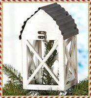 BARN LANTERN CHRISTMAS TREE TOPPER Red White Holiday Festive Ornament Decoration