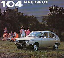 Peugeot 104 1981 prospectus brochure auto voitures France brochure Europe trafic