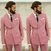 Pink Houndstooth Groom Wedding Tuxedos Double-Breasted Blazer 2 Piece Men Suits