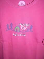 "NWT! LIFE IS GOOD WOMENS L/S CRUSHER TEE "".WINTER HOME ""...COZY GET AWAY (L)"
