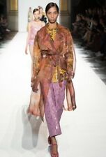 Dries Van Noten Multicolour Silk Organza Rigy Runway Trench Coat, Size M- BNWT