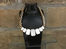 Super Chunky Gold Plated Cuban Link White Square Gemstone Necklace