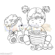 New Stampavie BAKING A TREAT Clear Stamps Girl Teddy Bear Cooking