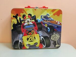 DISNEY Collector Metal Lunch Box Mickey Mouse Donald Duck Race Cars 3D