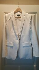 ANN TAYLOR White One Button Long BLAZER SUIT JACKET Size 4