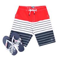 Smith & Jones Summer Beach Surf Swim Board Shorts & Flip Flop Set Red Stripe