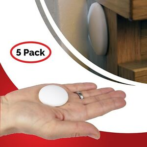 5 White Wall Protector Pads 40mm x 10mm Protect Your Walls Noise Dampening