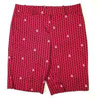 Talbots anchor print bermuda shorts chino casual pink navy blue size 4