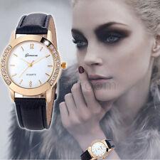 Runduhr Geneva Modisch Damen Armbanduhren Diamond Analog Uhr Leder Quartz Watch