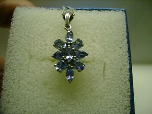 "Tanzanite Pendant - Marquise Stones - Platinum/Silver with 18""Silver Chain"