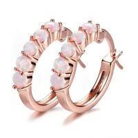 Multi Round Cut White Fire Opal Gems Rose Gold Plated Solid Silver Stud Earrings