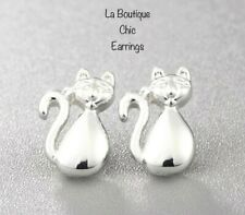 UK SELLER Cat Stud Earrings Birthday Gift