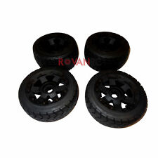 Rovan On Road Tires on New HD Wheels (Set of 4) Mounted Fit HPI Baja 5B KM Buggy