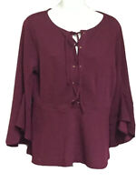 Chicos Womens Maroon Long Bell Sleeve Tie Neck Boho Peasant Tunic Top sz 1 Small