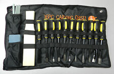 16 Piece Wood Carving Set Chisels Woodworking Hand Tool Kit with a Cloth Pouch