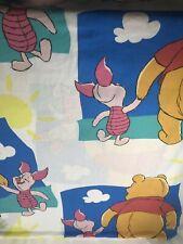 "Vintage Winnie The Pooh Bear Piglet Flat Bed Sheet Twin Disney Fabric 67 X 93"""