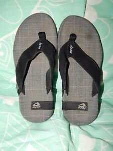 Reef ~ Men's 8 ~ Black & Gray ~ Flip Flops w Suede Straps