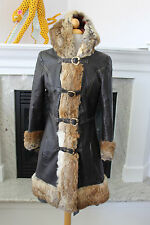 VINTAGE 60's 70's Destroyed Distresed Leather Rabbit Fur Hooded  Women's COAT S