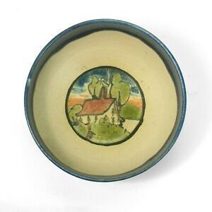 "PRP Saturday Evening Girls pottery 4.25"" bowl house in landscape arts & crafts"