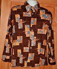 "Vintage 70""s Atomic Floral Disco Button-Down Acetate-Nylon Shirt Mod M Knit"