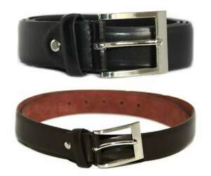 """New Mens Milano Classic Black Brown 1.25"""" Wide Bonded Leather Work Belt"""