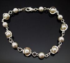 Vintage Caged Pearl Beaded Bracelet Silver Tone & Simulated Pearls Holiday Gift