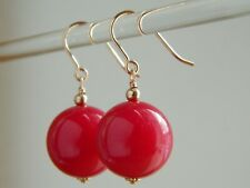 Large Magenta Pink Dyed Agate Gemstones & 14ct Rolled Rose Gold Drop Earrings