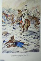 """Gemälde Schlacht """"Lichtenstein Husaren"""" Zügel-Schüler H. Sattler dat. 19.04.1924"""