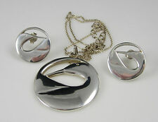 Water Bird Necklace Earrings Set Vintage Stunning Sterling Silver Duck Goose