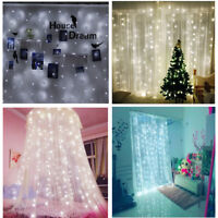 3M/6M Curtain Fairy String Lights 300/600 LED Xmas Christma Wedding Party Decor