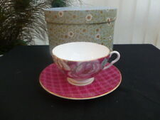 WEDGWOOD TEA GARDEN RASPBERRY TEACUP AND SAUCER *BOXED*