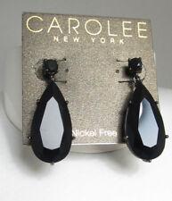 $85 Carolee Hematite  Tone UPPER EAST SIDE Black Crystal Large Teardrop Earrings
