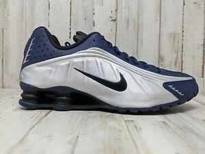 Nike Shox R4 Midnight Navy Metallic Silver 104265 405 Mens size 11 Running gym