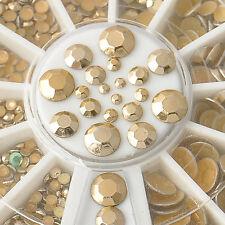 Women Elegant 5 Sizes 3D Acrylic Glitter Gold Rhinestone Nail Art Decoration DIY