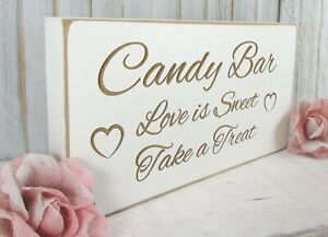 Candy Bar Wedding Sign Free Standing Vintage Shabby & Chic White