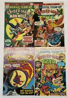 Lot Of 4 1975 Marvel Team Up Comics Spider-Man Issues # 37 38 39 40 Run Vintage