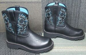 Wmns ARIAT Fatbaby Black Deertan Western Leather Ankle Boot 10 C ~ Excellent