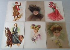 6 DIFFERENT  ANTIQUE  EDWARDIAN LADY   COLOUR LITHO PRINTS