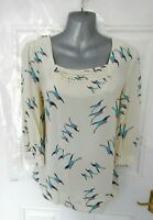 JOULES Size 10 Cream Beige Blue Pink Duck Print Shift Blouse Top Bronwyn