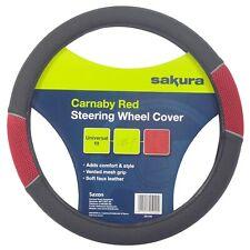 Sakura SS1446 Racing Steering Wheel Cover Red Mesh