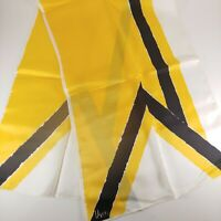 Vintage 1970s Vera Neumann Abstract Oblong Yellow White Color Small Scarf Hankie