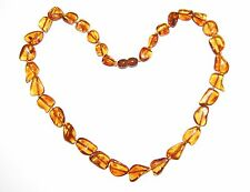 Baltic amber adult necklace, cognac color leaves beads 45 cm / 17.72 inch 8 gr.