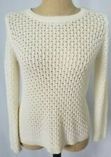 Talbots Sweater PS Petite Small Ivory Open Knit Crew Neck Long Sleeve NWT