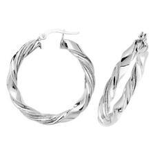 9ct White Gold & Moondust Stripe 25mm Diameter 4mm Twisted Hoop Earrings 3.7g