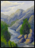 JOEL Love Art Original Oil Painting Mountain River Landscape Signed by Artist
