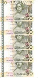 SWEDEN LOT 5x 50 KRONUR 2011  P 64. UNC CONDITION. 4RW 16NOV