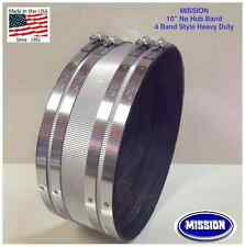 """** LOT of 5  CONTRACTOR DEAL **  10"""" NO HUB SS COUPLING -MISSION - USA MADE"""